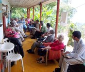 patio Bible study in Colombia